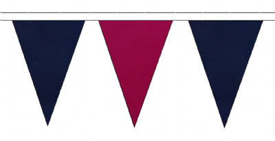 NAVY BLUE AND CLARET TRIANGULAR BUNTING - 10m / 20m / 50m LENGTHS